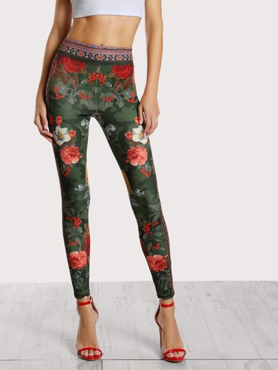 Floral Print Stretch Leggings OLIVE