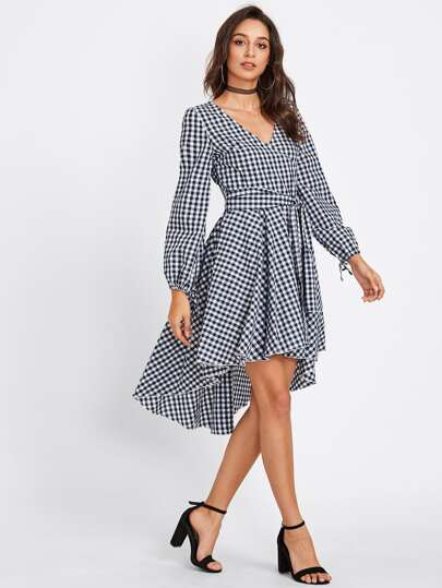 Belted Dip Hem Surplice Wrap Gingham Dress