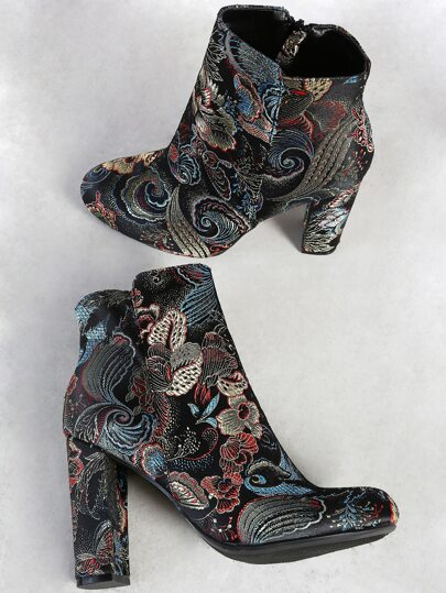 Multi Print Zip Up Boots BLACK