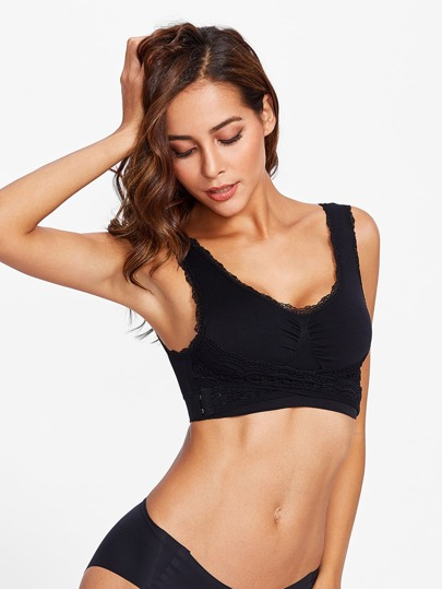 Scallop Trim Lace Wrap Sports Bra
