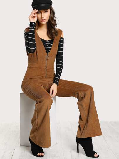 O Ring Zipper Corduroy Tank Jumpsuit CAMEL