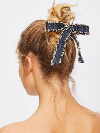 Fray Trim Bow Hair Clip