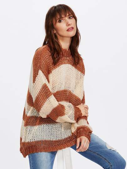 Loose Knit Two Tone Jumper