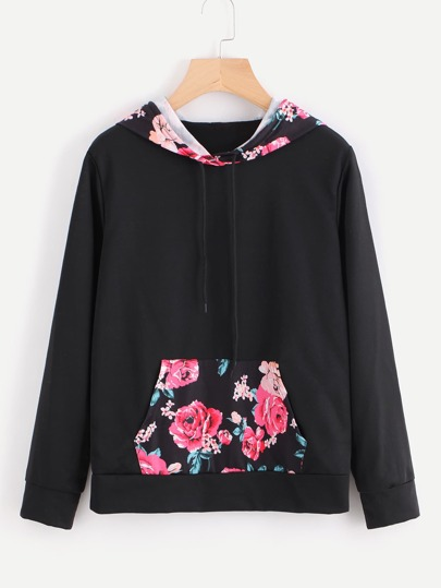 Contrast Floral Hooded Pocket Sweatshirt