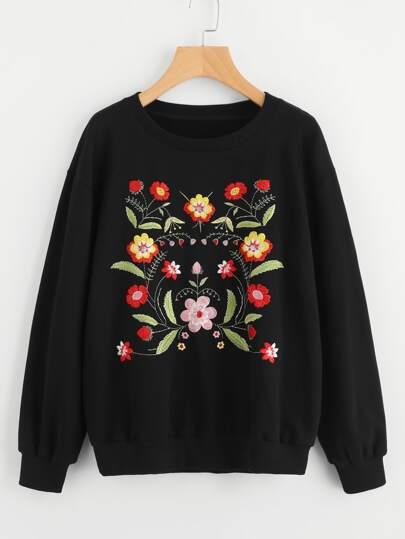 Drop Shoulder Symmetric Flower Embroidered Pullover