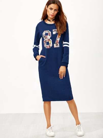 Vestido estilo sudadera con estampado universitario con abertura en la parte trasera