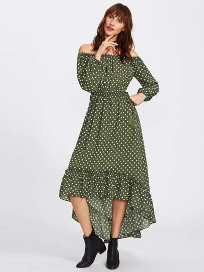 Ruffle Dip Hem Tasseled Bardot Dress