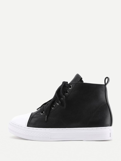 Lace Up Flatform PU Boots