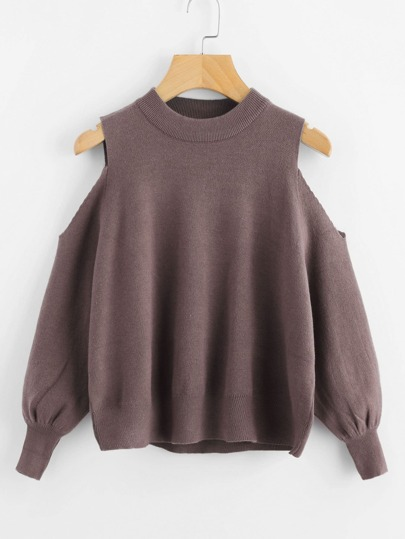 Open Shoulder Lantern Sleeve Sweater