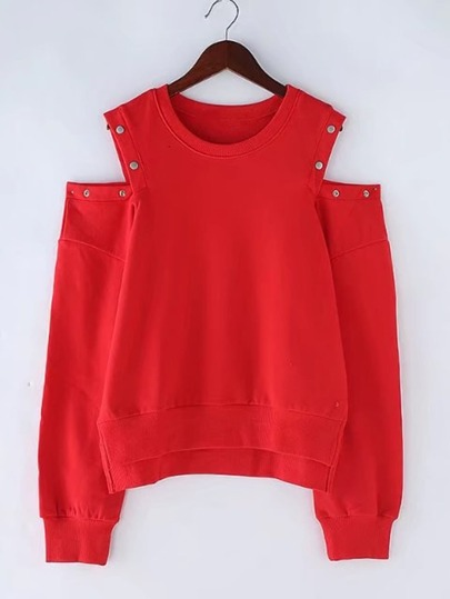 Studded Detail Cold Shoulder Sweatshirt