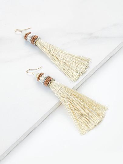 Beads Detail Tassel Drop Earrings