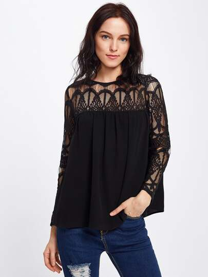 Illusion Lace Panel Keyhole Back Top