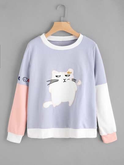 Contrast Sleeve Cat Print Sweatshirt
