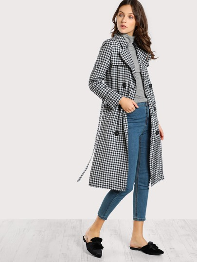 Button Down Gingham Print Trench Coat BLACK