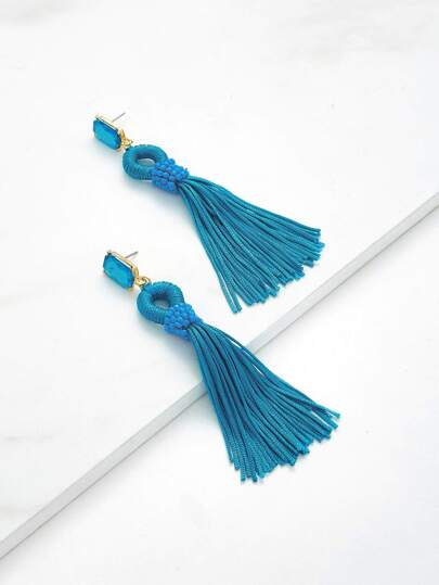 Rhinestone Top Tassel Drop Earrings