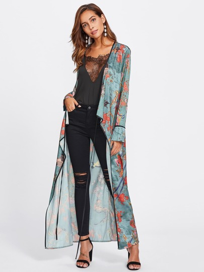 Kimono largo cruzado en la delantera con cordón