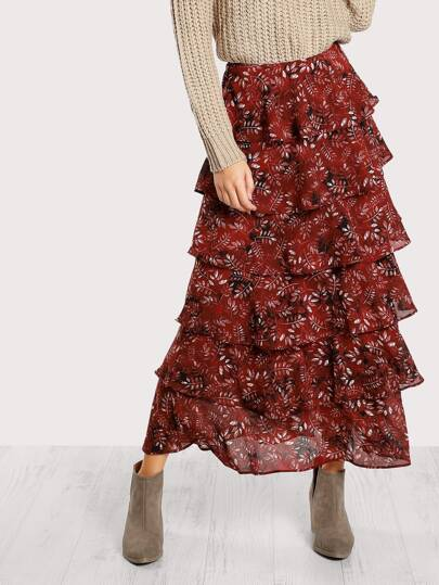 Leaf Print Tiered Skirt
