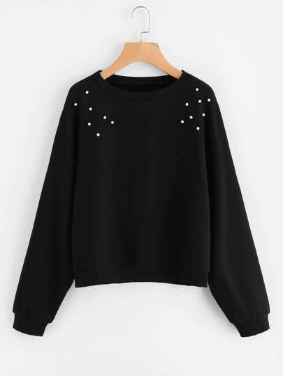 Drop Shoulder Pearl Beaded Pullover