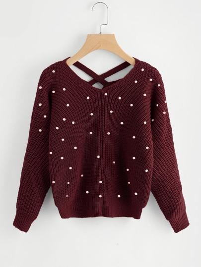Criss Cross V Back Sweater