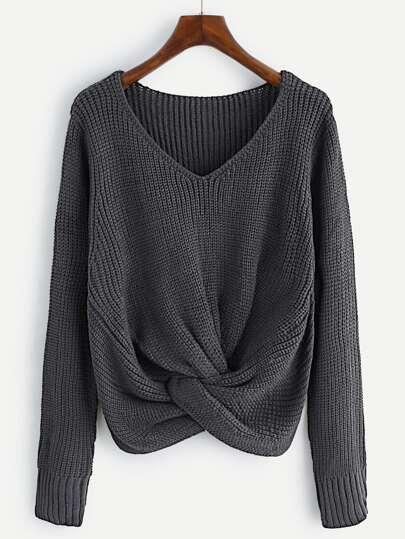 Pullover mit V-Ausschnitt und Twist vorn