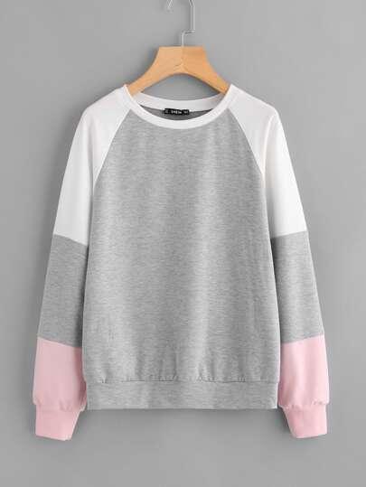 Cut And Sew Raglan Sleeve Heathered Pullover