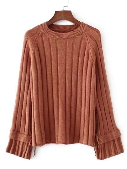 Raglan Sleeve Rib Knit Sweater
