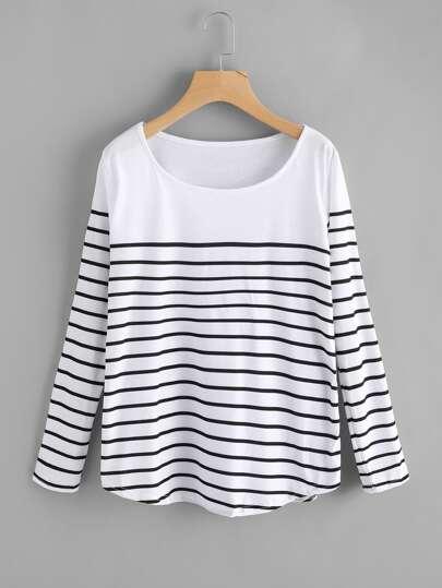 Tee-shirt large à rayures