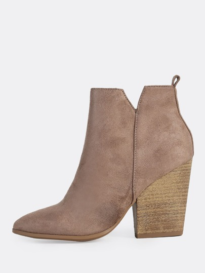 Wood Block Heel Boots CEMENT