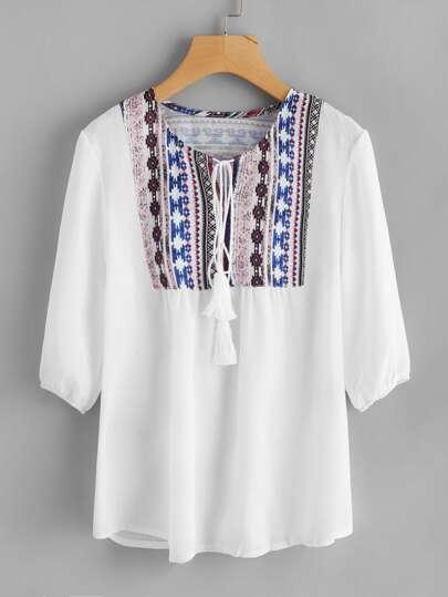 Aztec Print Tassel Tie Blouse
