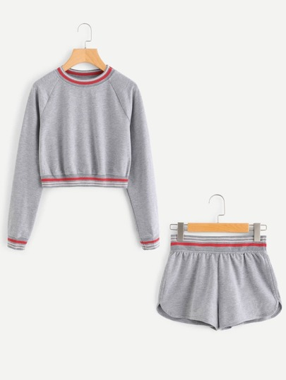 Striped Trim Pullover & Shorts Loungewear Set