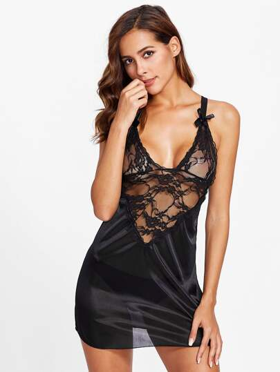 Lace Insert Satin Dress Set