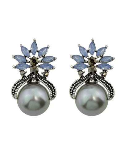 Gray Color Fashion Small Flower Pearl Female Earrings