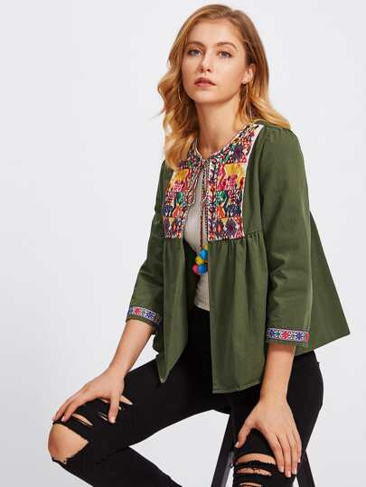 Pom Pom Tie Neck Embroidered Yoke And Cuff Jacket
