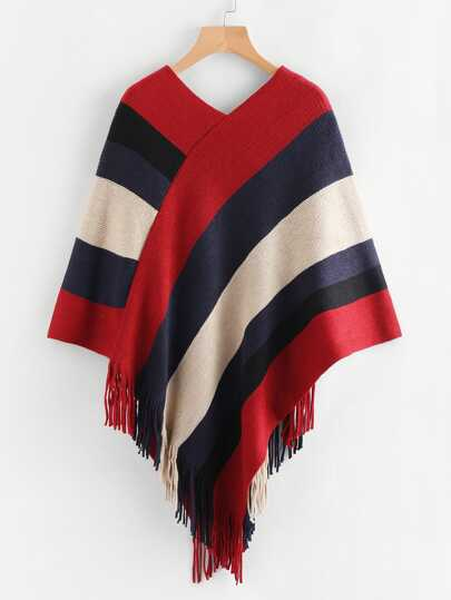Wide Striped Fringe Trim Cloak Top