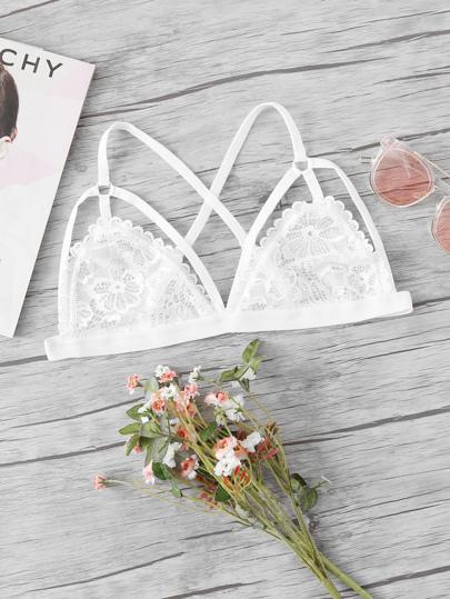 Floral Lace Criss Cross Bralette