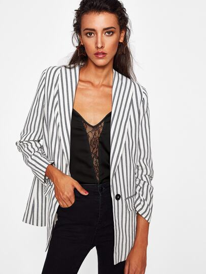 Shawl Collar Striped Boyfriend Blazer