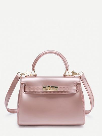 Twist Lock Detail PVC Shoulder Bag