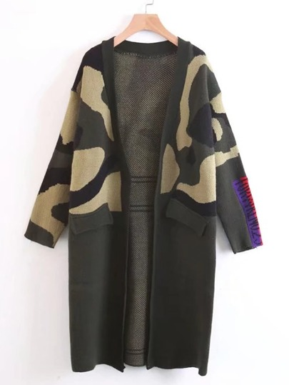 Fake Pocket Camo Sweater Coat