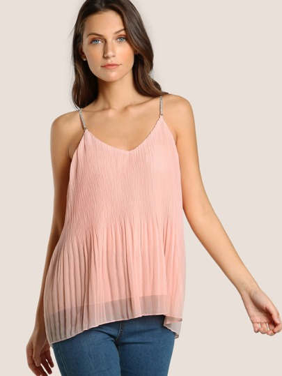 Chain Strap Flowy Tank Top PINK