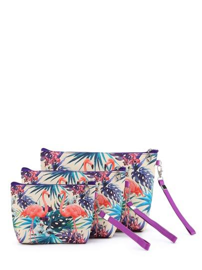 Flamingo Print Makeup Bag 3pcs