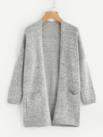 Drop Shoulder Marled Slub Cardigan