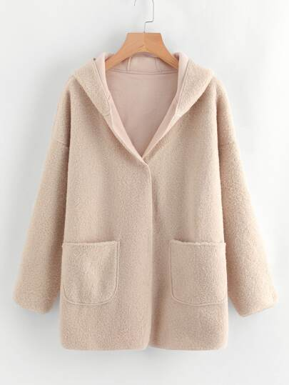 Drop Shoulder Sherpa Hooded Coat