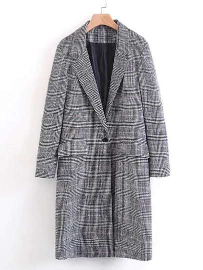 Single Button Plaid Longline Coat