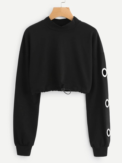 Drawstring Hem Ring Detail Crop Sweatshirt