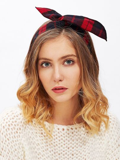 Gingham Print Ear Design Headband