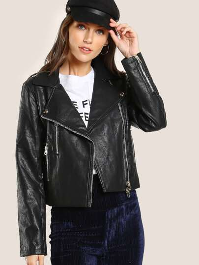Faux Crinkle Leather Moto Jacket BLACK