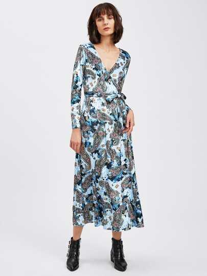 Paisley Print Velvet Surplice Wrap Dress