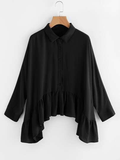 Bluse mit schößchem Saum und Taschentuch Saum
