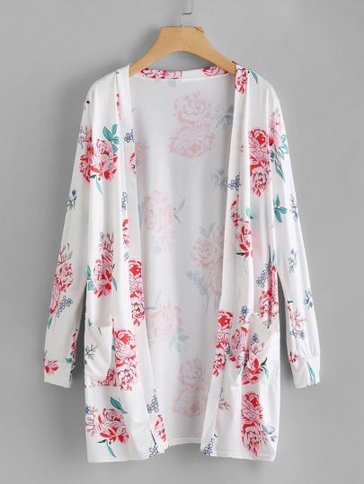 Botanical Print Dual Pocket Kimono