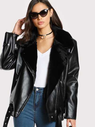 Belted Hem Asymmetric Zip Faux Shearling Biker Jacket